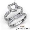 Heart Halo Diamond Semi Mount Engagement Ring Bridal Set 14k White Gold 0.95Ct - javda.com