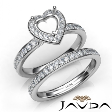 Heart Halo Diamond Semi Mount Engagement Ring Bridal Set 14K White Gold 0.95Ct