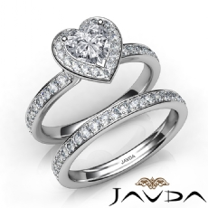 Halo Bridal Set Side - Stone Heart diamond engagement Ring in 14k Gold White