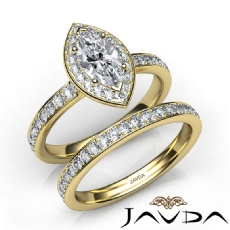 Framed Micro Pave Bridal Set Marquise diamond  Ring in 14k Gold Yellow