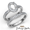 Oval Halo Diamond Semi Mount Engagement Ring Bridal Set 14k White Gold 0.95Ct - javda.com