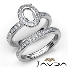 Oval Halo Diamond Semi Mount Engagement Ring Bridal Set 14K White Gold 0.95Ct
