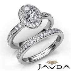 Halo Wedding Bridal Set Oval diamond engagement Ring in 14k Gold White