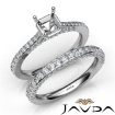 Pave Diamond Engagement Ring Asscher Semi Mount Bridal Set 14k White Gold 1.65Ct - javda.com
