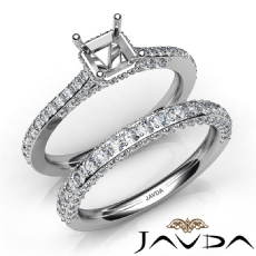 Pave Diamond Engagement Ring Asscher Semi Mount Bridal Set 14K White Gold 1.65Ct