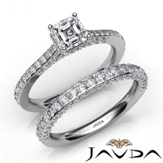 4 Prong Pave Bridal Set Asscher diamond engagement Ring in 14k Gold White