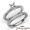 Pave Diamond Engagement Ring Cushion Semi Mount Bridal Set 14k White Gold 1.65Ct - javda.com