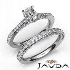 Pave Set Circa Halo Bridal Cushion diamond engagement Ring in 14k Gold White