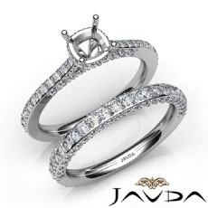 Pave Diamond Engagement Ring Cushion Semi Mount Bridal Set 14K White Gold 1.65Ct
