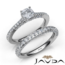 Accent Bridge Wedding Set Cushion diamond engagement Ring in 14k Gold White