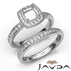 Cushion Halo Diamond Semi Mount Engagement Ring Bridal Set 14K White Gold 0.95Ct