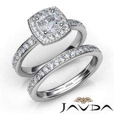 Eternity Pave Set Bridal Cushion diamond engagement Ring in 14k Gold White
