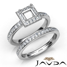 Princess Halo Diamond SemiMount Engagement Ring Bridal Set 14K White Gold 0.95Ct