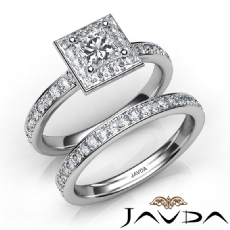 Side-Stone Halo Bridal Set Princess diamond engagement Ring in 14k Gold White