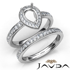Pear Halo Diamond Semi Mount Engagement Ring Bridal Set 14K White Gold 0.95Ct