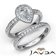 Pave Sidestone Halo Bridal Pear diamond engagement Ring in 14k Gold White