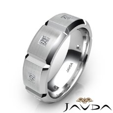 Beveled Edge Matte Men's Diamond Eternity Wedding Band 14k White Gold 0.50 Ct