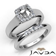 U Prong Diamond Engagement SemiMount Ring Round Bridal Set 14K White Gold 0.40Ct