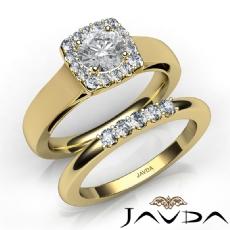 Halo Filigree Bridal Set Pave Round diamond engagement Ring in 14k Gold Yellow