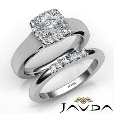 Halo Filigree Bridal Set Pave Round diamond engagement Ring in 14k Gold White