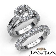 Pave Diamond Engagement Ring Bridal Sets 14K White Gold Round Semi Mount 1.70Ct.