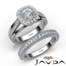 Milgrain Bridal Set Halo Pave Round diamond engagement Ring in 14k Gold White