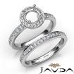 Round Halo Diamond Semi Mount Engagement Ring Bridal Set 14k White Gold 0.95Ct - javda.com