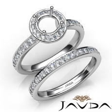Round Halo Diamond Semi Mount Engagement Ring Bridal Set 14K White Gold 0.95Ct.
