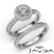 Halo Pave Setting Wedding Round diamond engagement Ring in 14k Gold White