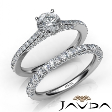 Pave Circa Halo Bridal Set Round diamond engagement Ring in 14k Gold White