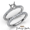 Pave Diamond Engagement Ring Round Semi Mount Bridal Set 14k White Gold 1.65Ct - javda.com