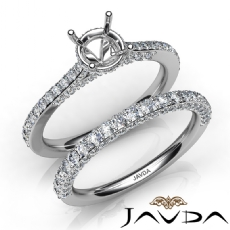 Pave Diamond Engagement Ring Round Semi Mount Bridal Set 14K White Gold 1.65Ct.