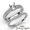 Diamond Engagement Ring Round Semi Mount U Cut Bridal Set 14k White Gold 0.8Ct - javda.com