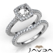 Diamond Round Cut Semi Mount Engagement Ring Bridal Set 14k White Gold 1Ct - javda.com