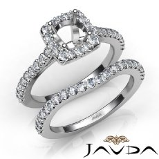 Diamond Round Cut Semi Mount Engagement Ring Bridal Set 14K White Gold 1.0Ct.