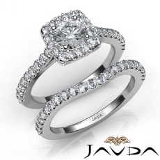 Halo U Prong Bridal Set Round diamond engagement Ring in 14k Gold White