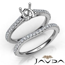 Round Cut Diamond Semi Mount Engagement Ring Bridal Set 14K White Gold 0.80Ct.