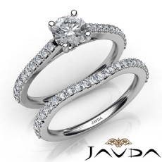 Prong Setting Bridal Set Round diamond engagement Ring in 14k Gold White