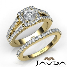 Charming Halo Bridal Set Round diamond engagement Ring in 14k Gold Yellow