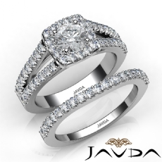 Charming Halo Bridal Set diamond Ring 14k Gold White
