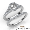 U Prong Diamond Engagement Ring Round Semi Mount Bridal Set 14k White Gold 0.6Ct - javda.com