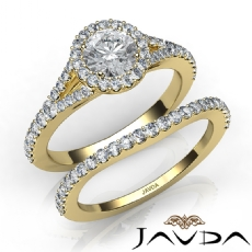 Floating Halo Pave Bridal Set Round diamond engagement Ring in 14k Gold Yellow