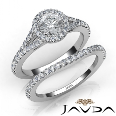 Floating Halo Pave Bridal Set Round diamond engagement Ring in 14k Gold White