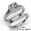 Round Diamond U Prong Engagement SemiMount Ring Bridal Set 14k White Gold 0.42Ct - javda.com
