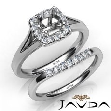 Round Diamond U Prong Engagement SemiMount Ring Bridal Set 14K White Gold 0.42Ct
