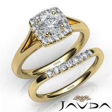 Halo Side Stone Bridal Set Round diamond engagement Ring in 14k Gold Yellow