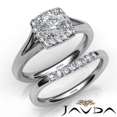 Halo Side Stone Bridal Set Round diamond engagement Ring in 14k Gold White