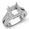 0.9Ct Diamond Engagement Princess Ring 14k White Gold Halo Setting Semi Mount - javda.com
