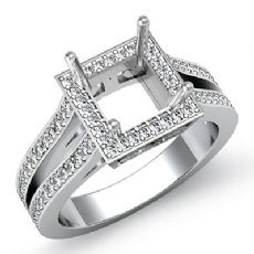 0.90CT Diamond Engagement Princess Ring 14K White Gold Halo Setting Semi Mount