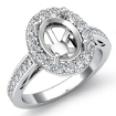 1.3Ct Halo Pave Setting Diamond Engagement Oval Semi Mount Ring 14k White Gold - javda.com